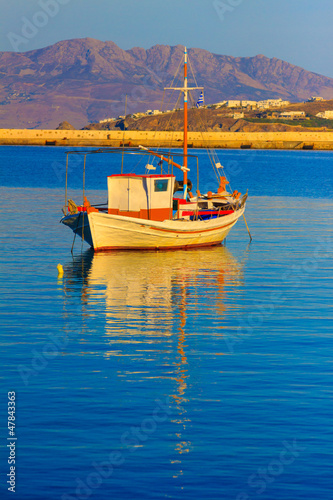 Staande foto Athene Lonely boat at Dawn, Mykonos island Greece Cyclades