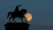 Croatia Zagreb Ban Jelacic east moonrise