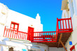 Traditional red window frames Mykonos island Greece Cyclades