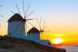 Windmills sunset Mykonos Island Greece Cyclades