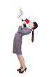 Business woman angry shouting with a megaphone