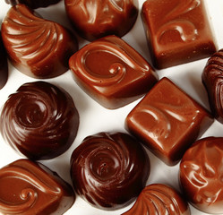 Closeup brown chocolate candy background