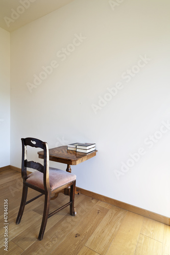 interior, classic chair and small table