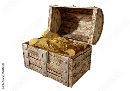 Treasure Chest With Gold Perspective