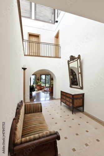 beautiful apartment, interior, corridor with antique furniture