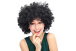 Woman wearing black afro wig