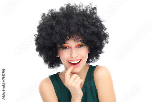Woman wearing black afro wig