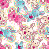 Seamless kawaii child pattern with cute doodles. poster