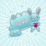 Cute child background with kawaii doodles. poster