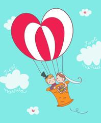 coppia di sposi su mongolfiera