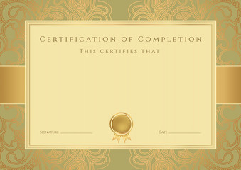 Certificate of completion template. Vector