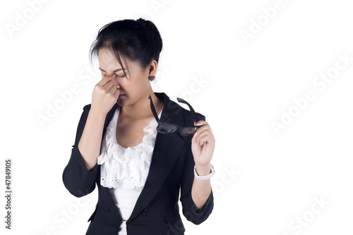 Stressed business woman with a headache isolate on white backgro