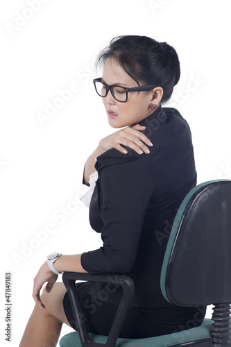 portrait of asian business woman suffering from the pain and mas