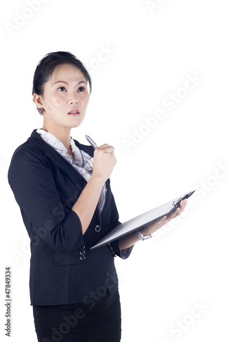 Portrait of a successful business woman holding a folder