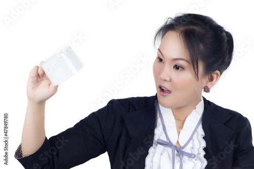 Portrait of business woman hold cup of coffee