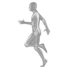 Laufender Mann Silhouette mit Skelett