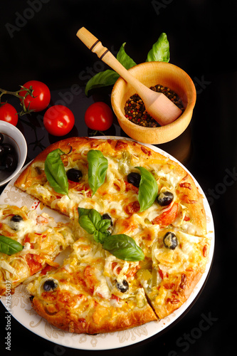 Pizza in black