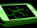 Inspire On Smartphone Showing Encouragement