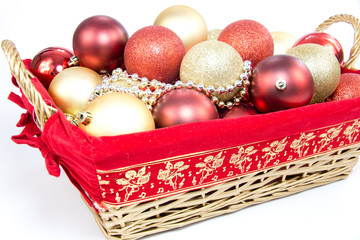 Christmas balls in basket