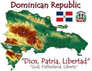 Dominican Republic America national emblem map symbol motto