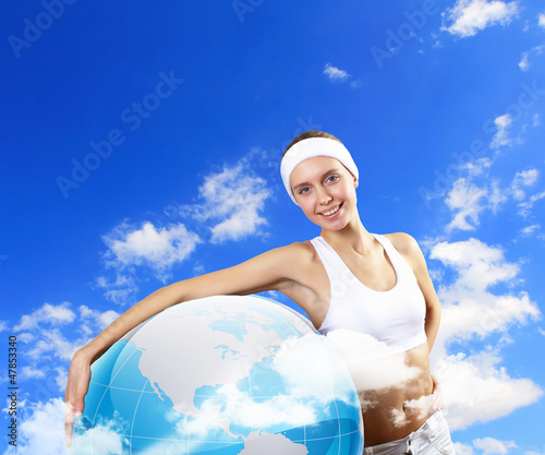 Sport woman and our planet