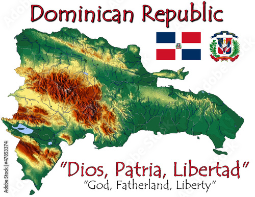 Dominican Republic America national emblem map symbol motto