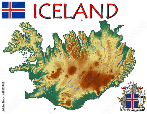 Iceland Europe national emblem map symbol motto