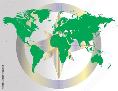 Staande foto Wereldkaart Green World Navigating Map