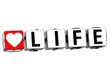 3D Love Life Button Click Here Block Text