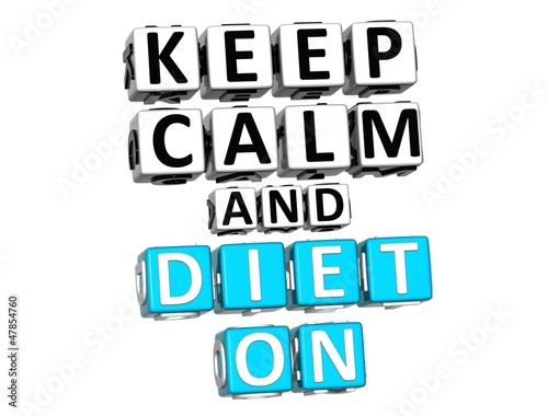 poster of 3D Keep Calm And Diet On Button Click Here Block Text