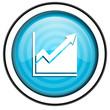 histogram blue glossy icon isolated on white background