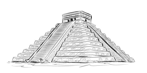 Vector World famous landmark collection : Antique Mayan Pyramid