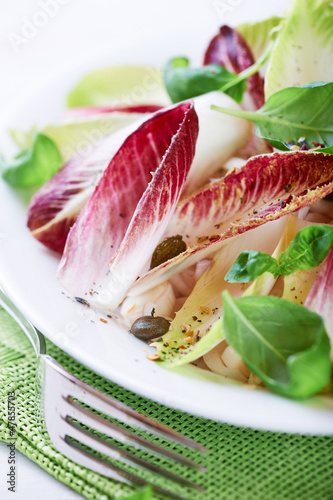 Chicory salad with capers and basil leaves