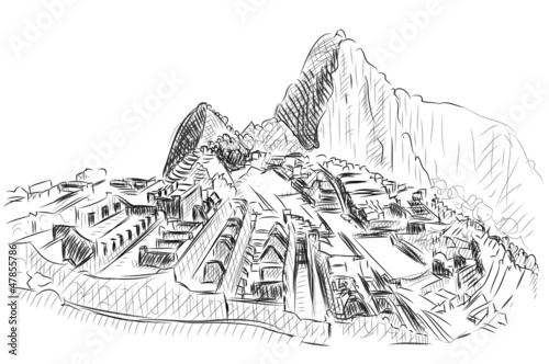 Vector World famous landmark collection : Machu Picchu, Peru
