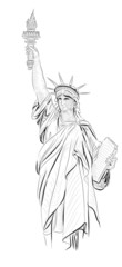 Vector World famous landmark collection :  Statue of Liberty , N