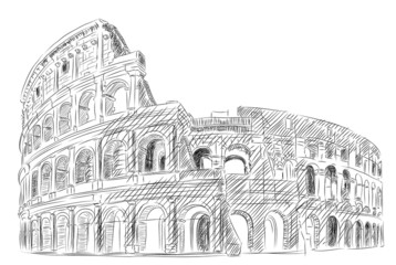 Vector World famous landmark collection :Coliseum, rome, Italy