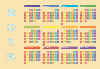 New year 2013 colorful wall calendar