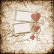 Grunge  background with stamp-frames and paper heart