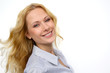 Portrait of beautiful blond woman on white background