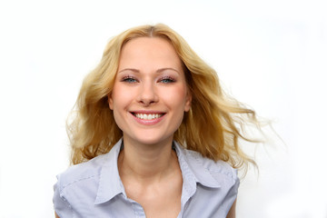 Portrait of beautiful blond woman on white background
