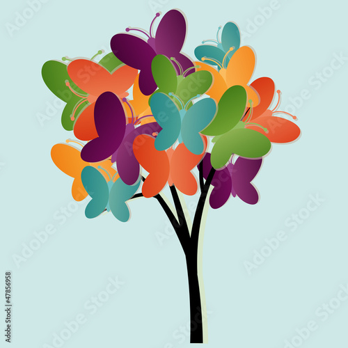 Foto op Aluminium Vlinders Abstract tree illustration with butterflies