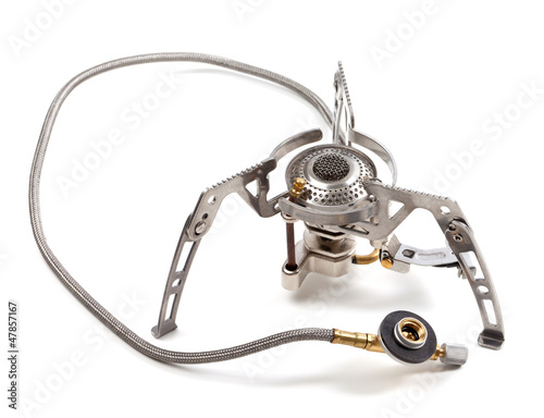 Camping gas stove on white background
