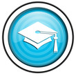 graduation blue glossy icon isolated on white background