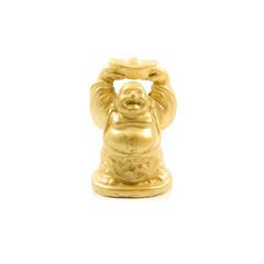 Golden Buddha. Chinese God Isolated on white