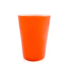 Orange plastic cup isolated on white