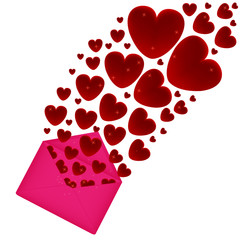 Heart fly out of the pink envelope