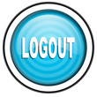 logout blue glossy icon isolated on white background