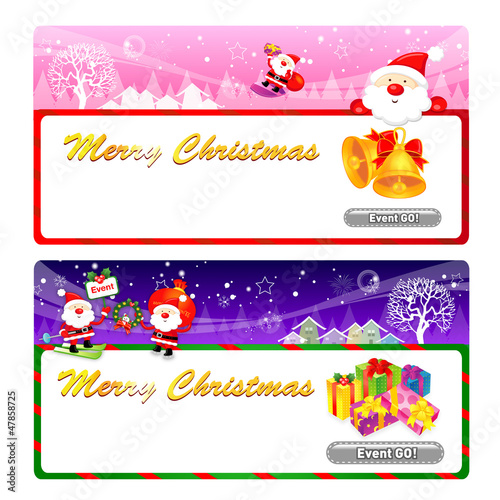 Santa Claus Mascot using a variety of banner designs. Christmas