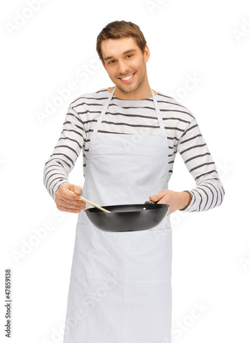 handsome man with pan and spoon