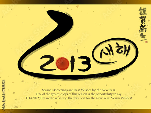 Year of the snake in 2013 new year greeting cards. New Year Card